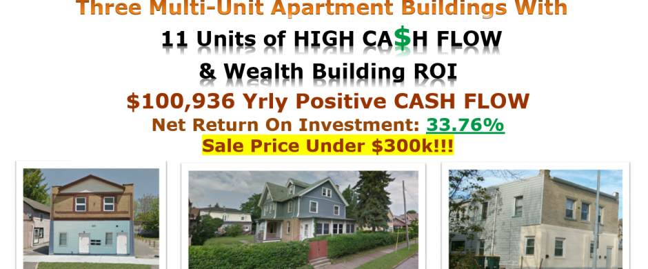 3 Apartment Bldgs- 11 Units – Under $300K – NROI 33.76%